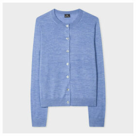 Women's Blue Marl Wool-Blend Cardigan