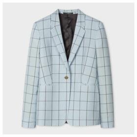 Women's Slim-Fit Light Blue Windowpane Check Loro Piana Wool Blazer