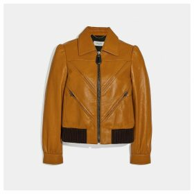 Coach Leather Tailored Bomber Jacket With Piecing