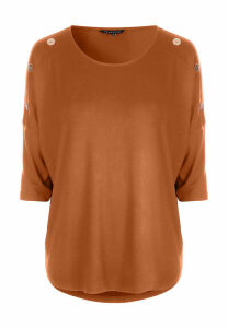 Womens Ginger 3/4 Sleeve Button Detail Top