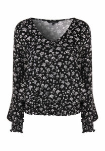 Womens Monochrome Ditsy Floral Shirred Hem Top