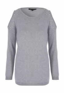 Womens Grey Cold Shoulder Jumper