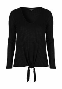 Womens Black Tie Front Ribbed Top
