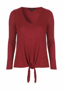 Womens Red Tie Front Ribbed Top