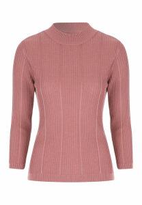 Womens Pink 3/4 Sleeve Jumper