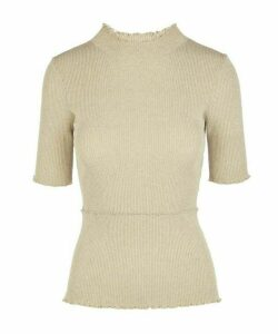 Short-Sleeve Layered Lurex Top