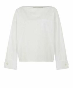 Snap Cuffs Cotton-Poplin Blouse