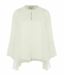 Keyhole Oversize Silk Blouse