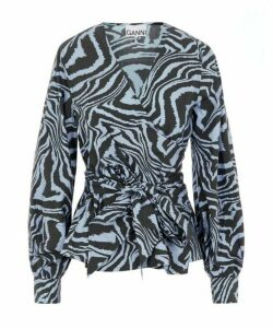 Printed Poplin Wrap Top