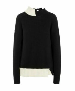 Asymmetric Open-Back Knit Sweater