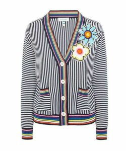 Embroidered Flowers Stripe Cardigan