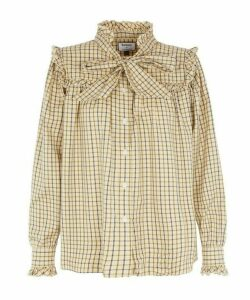 X Alexachung Bella Pussy-Bow Herringbone Cotton Shirt