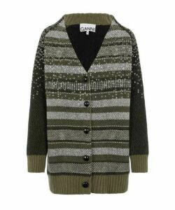 Sequin Embellished Wool-Blend Cardigan