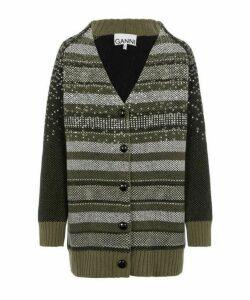 Sequin Embellished Wool-Blend Cardigan