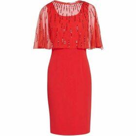 Gina Bacconi Roena Beaded Overcape Dress