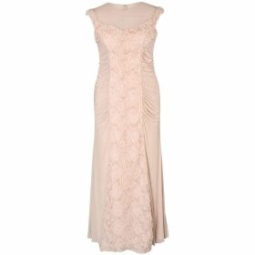 Chesca Floral/Beaded Panel Mesh Long Dress