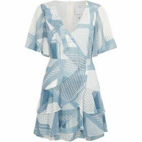 CMEO Printed ruffle mini dress