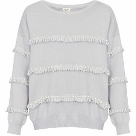 Yumi Pearl And Ruffle Embellished Jumper