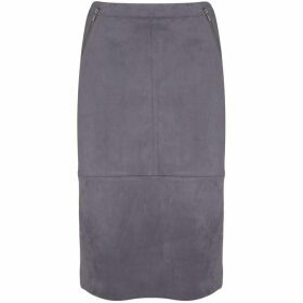 Mint Velvet Steel Suedette Pencil Skirt