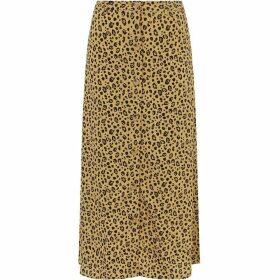 Warehouse Leopard Print Midi Skirt
