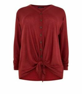 Curves Burgundy Tie Through Button Front Top New Look