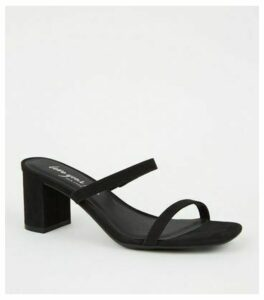 Black Suedette 2 Strap Heeled Mules New Look