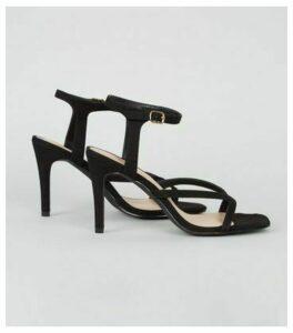 Black Suedette Strappy Stiletto Heels New Look