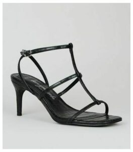 Wide Fit Black Faux Croc Strappy Stiletto Sandals New Look Vegan