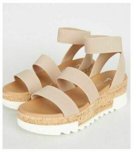 Cream Elastic Strap Cork Flatform Sandals New Look Vegan