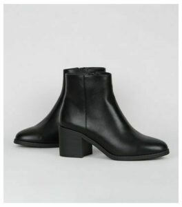 Black Leather-Look Heeled Boots New Look Vegan