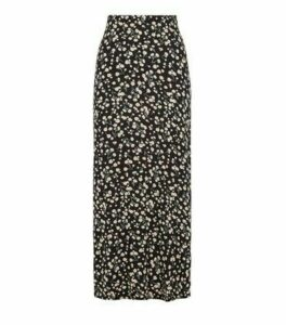 Black Floral Midi Skirt New Look