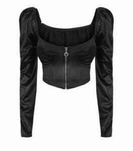 Cameo Rose Black Satin Zip Front Crop Top New Look