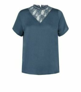 JDY Teal Lace Yoke Blouse New Look