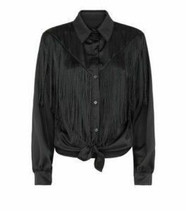 Honey Behave Black Satin Fringe Trim Shirt New Look