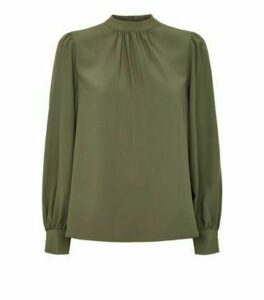 Khaki High Neck Blouse New Look