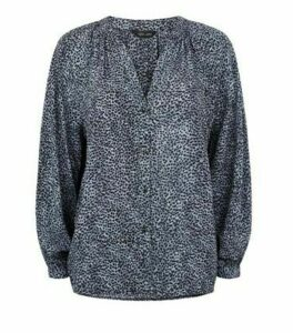 Blue Animal Print Long Sleeve Shirt New Look