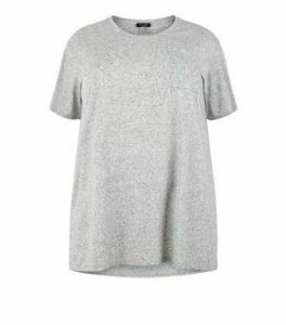 Curves Grey Marl Pocket Front T-Shirt New Look
