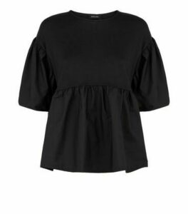 Black Fine Knit Poplin Peplum Top New Look