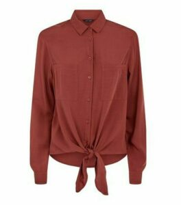 Dark Red Tie Front Long Sleeve Shirt New Look