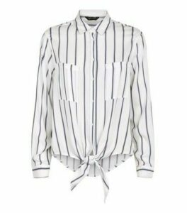 White Stripe Tie Front Shirt New Look
