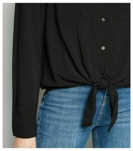 Black Tie Front Long Sleeve Shirt New Look