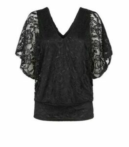 Black Lace V Neck Batwing Sleeve Top New Look