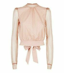 Pink Spot Mesh Tie Back Top New Look
