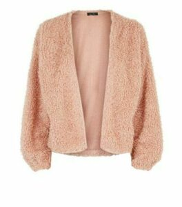 Mid Pink Fluffy Fine Knit Cardigan New Look