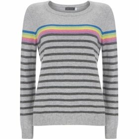 Mint Velvet Grey & Rainbow Striped Knit