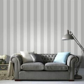 Superfresco Easy Sparkle Stripe White/Silver Wallpaper