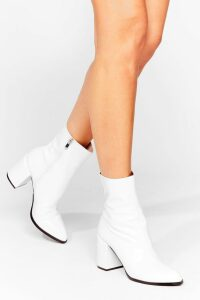 Womens Toe to Toe Patent Heeled Boots - white - 5, White