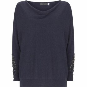 Mint Velvet Indigo Diamante Batwing Knit