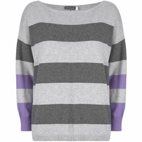 Mint Velvet Grey & Violet Wide Stripe Knit