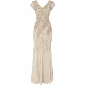 Adrianna Papell Short sleeve embellished gown